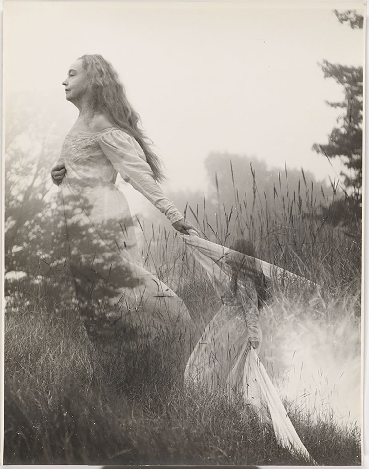 Nell-Dorr-Estate-Collection-Double-exposure portrait-of-elderly-Lillian-Gish-in-field-with-flowing-white-dress-Nell-Dorr-c. 1950s-60s